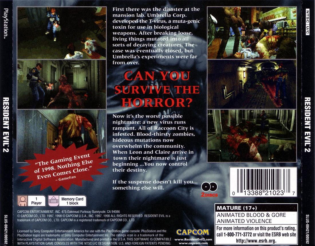 Resident Evil 2 Ntsc U Claire Disc Slus 00592 Nj7 S Psx
